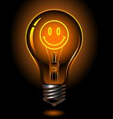 Vector Bulb With Smiley Inside