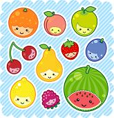 foto of kawaii  - vector illustration of kawaii fruits - JPG