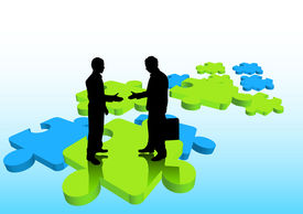 picture of change management  - Businessmen shaking hands on puzzle pieces - JPG