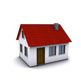 stock photo of red roof  - A small house with red roof on a white background - JPG