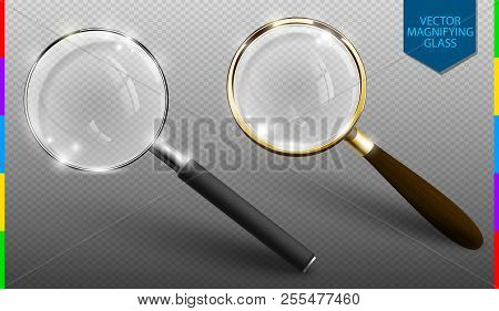 Realistic Vector Magnifying Glass Set
