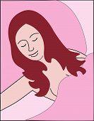 Girl Sleeping In Bed.Eps