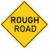 Rough Road Warning Sign On White Background. Flat Style. Danger Roadsign In Yellow Diamond. Rough Ro poster