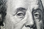 Close Up View Portrait Of Benjamin Franklin On The One Hundred Dollar Bill. Background Of The Money. poster