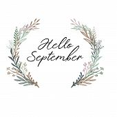 Hello September Handwritten Text. Autumn Greeting Card, Postcard, Poster, Banner Template With Leave poster