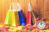 Color Shopping Bags On Fallen Leaves Background, With Retro Alarm Clock. Time For Seasonal Sales. Au poster