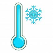 Thermometer With Low Temperature Icon. Cartoon Illustration Of Thermometer Icon For Web Design poster