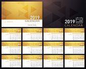 Calendar Golden Planner 2019 Year. Calendar Plan Simple Minimal Wall And Desk Type Calendar Template poster