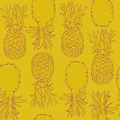 Vector Hand Drawn Abstract Tropical Seamless Pattern Of Exotic Fruit Pineapple. Bright Pine Desert A poster