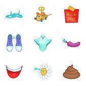 April Fools Joke Icons Set. Cartoon Illustration Of 9 April Fools Joke Icons For Web poster