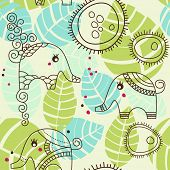 Little elephants garden; seamless pattern