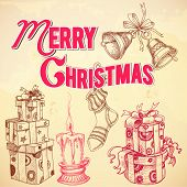 Retro Christmas card Merry Christmas lettering and hand drawn gift boxes, candle, stocking and bells