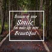Life Quotes Because Of Your Smile You Make Your Life More Beautiful, Positive, Motivation poster