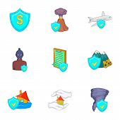 Crash Icons Set. Cartoon Illustration Of 9 Crash Icons For Web poster