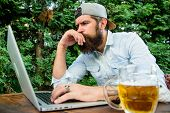 Betting And Real Money Gaming. Brutal Man Leisure With Beer And Sport Game. Football Fan Bearded Hip poster