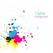 Vector CMYK ink splashes