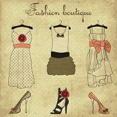 stock photo of boutique  - Vintage fashion boutique set - JPG