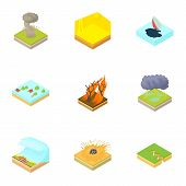 Natural Accident Icons Set. Cartoon Illustration Of 9 Natural Accident Icons For Web poster