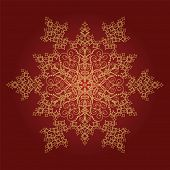 Single golden detailed snowflake on red background