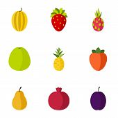 Orchard Fruits Icons Set. Flat Illustration Of 9 Orchard Fruits Icons For Web poster