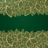 Golden leaf lace on green background. This image is a vector illustration.