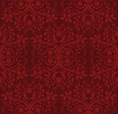 Seamless detailed red floral wallpaper. This image is a vector illustration