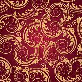 Seamless red & gold swirls wallpaper