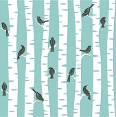 seamless vector pattern with birds and trees