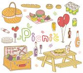 a vector set of picnic goods
