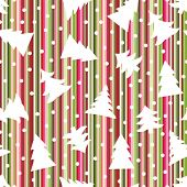 Seamless Christmas striped background with trees and snowballs