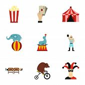 Concert In Circus Icons Set. Flat Illustration Of 9 Concert In Circus Icons For Web poster