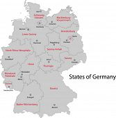 Gray Germany map with regions and main cities