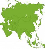 Green Asia map with country borders