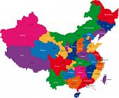 stock photo of cartographer  - Color map of the regions and divisions of China - JPG