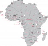 Africa map with countries and capital cities