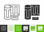 Warm Floor Black Linear And Silhouette Icons. Thin Line Sign Of Heating. Convector Outline Pictogram poster