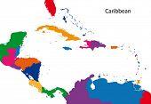 Caribe colorido mapa con los países