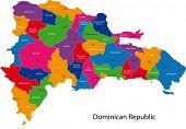 Mapa de República Dominicana con las provincias de color en colores brillantes