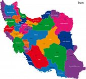 Map of the Islamic Republic of Iran with the provinces colored in bright colors