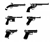 stock photo of glock  - vector handgun pictogram - JPG