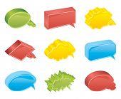Colour bubbles collection. Vector 3d.
