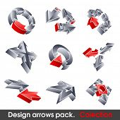 Vector arrows. Design elements. 3D symbol for your artwork.