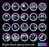 Black glossy icon set 1. Standart collection of design element for your creative word (see other in