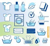 stock photo of laundromat  - Laundry vector icons set - JPG