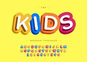 Vector Kids Typeface 3d Bold Typography Sans Serif Style For Poster, Decoration, Promotion, Book, T  poster