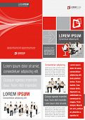 Red ,white and black template for advertising brochure with business people