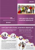 Purple template for advertising brochure with business people
