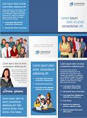 Blue template for advertising brochure with business people
