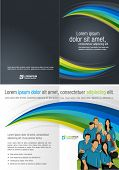 Blue and green template for advertising brochure with business people