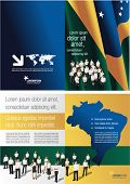 Brazil flag template for advertising brochure with people